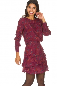 Dante 6 |  Skirt with floral print Riva | Bordeaux  | Picture 2