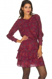 Dante 6 |  Skirt with floral print Riva | Bordeaux  | Picture 4