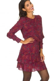 Dante 6 |  Skirt with floral print Riva | Bordeaux  | Picture 6