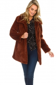 OAKWOOD |  Faux fur coat Luna | red  | Picture 4