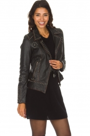 OAKWOOD |  Leather biker jacket with studs Sydney | black  | Picture 2
