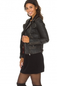 OAKWOOD |  Leather biker jacket with studs Sydney | black  | Picture 4