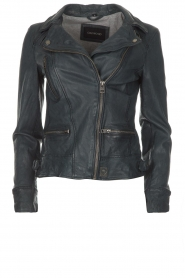 OAKWOOD |  Leather biker jacket Video | blue  | Picture 1