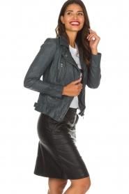 OAKWOOD |  Leather biker jacket Video | blue  | Picture 4