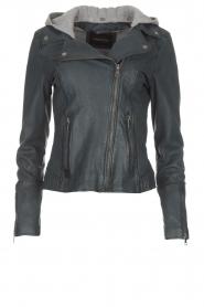OAKWOOD |  Leather biker jacket Emily | blue  | Picture 1