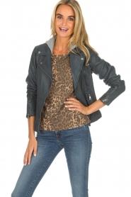OAKWOOD |  Leather biker jacket Emily | blue  | Picture 2