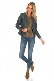 OAKWOOD |  Leather biker jacket Emily | blue  | Picture 3