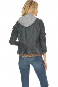 OAKWOOD |  Leather biker jacket Emily | blue  | Picture 5