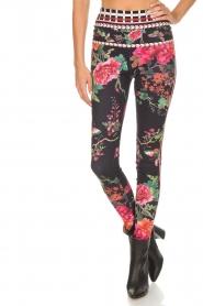 Hale Bob |  Floral printed leggings Eveline | black  | Picture 3