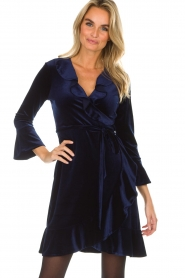Hale Bob |  Velvet wrap dress Lexa | blue  | Picture 4