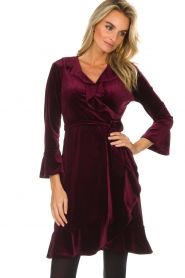 Hale Bob |  Velvet wrap dress Lexa | bordeaux  | Picture 4