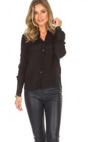 Rosemunde |  Blouse with lace Erika | black  | Picture 4