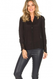 Rosemunde |  Blouse with lace Erika | black  | Picture 2