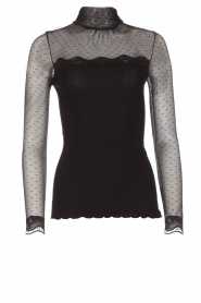 Rosemunde |  Turtleneck top with see-through sleeves Layla | black  | Picture 1