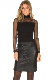 Rosemunde |  Turtleneck top with see-through sleeves Layla | black  | Picture 2