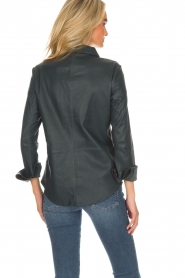 Arma |  Leather blouse Dita | blue  | Picture 5