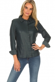 Arma |  Leather blouse Dita | blue  | Picture 2