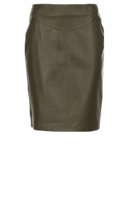 Arma |  Leather skirt Massy | dark green  | Picture 1