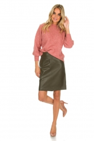 Arma |  Leather skirt Massy | dark green  | Picture 3