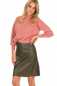 Arma |  Leather skirt Massy | dark green  | Picture 2