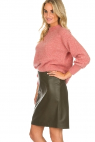 Arma |  Leather skirt Massy | dark green  | Picture 4