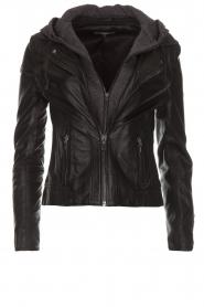 Arma |  Leather biker jacket Olive Preto | black  | Picture 1