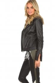 Arma |  Leather biker jacket Olive Preto | black  | Picture 4