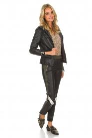 Arma |  Leather biker jacket Olive Preto | black  | Picture 3