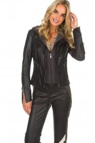 Arma |  Leather biker jacket Olive Preto | black  | Picture 2