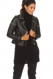 Arma |  Leather biker jacket with studs Jannice | black  | Picture 2