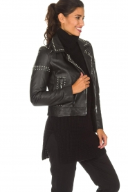 Arma |  Leather biker jacket with studs Jannice | black  | Picture 5