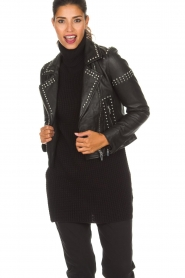 Arma |  Leather biker jacket with studs Jannice | black  | Picture 4