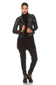 Arma |  Leather biker jacket with studs Jannice | black  | Picture 3