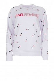 Zoe Karssen |  Sweater with lipstick print Optical | white  | Picture 1