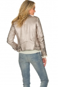 IRO |  Metallic leather biker jacket Newhan | silver  | Picture 7