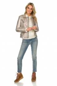 IRO |  Metallic leather biker jacket Newhan | silver  | Picture 3