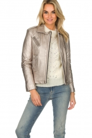 IRO |  Metallic leather biker jacket Newhan | silver  | Picture 2