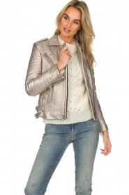 IRO |  Metallic leather biker jacket Newhan | silver  | Picture 4
