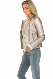 IRO |  Metallic leather biker jacket Newhan | silver  | Picture 6
