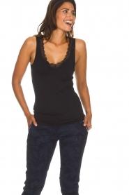 Hanro | Top Cotton Lace | zwart  | Afbeelding 2