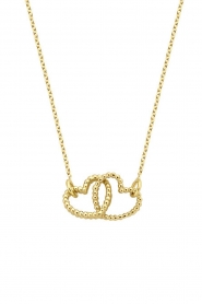 Just Franky |  14k gold Double Vintage Heart necklace | gold  | Picture 1