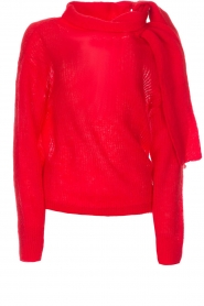 Essentiel Antwerp |  Sweater with bow Rouaniemi | red  | Picture 1