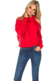 Essentiel Antwerp |  Sweater with bow Rouaniemi | red  | Picture 2