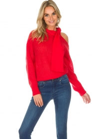 Essentiel Antwerp |  Sweater with bow Rouaniemi | red  | Picture 4