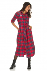 Essentiel Antwerp |  Checkered long dress Repoux | red  | Picture 4