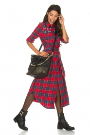 Essentiel Antwerp |  Checkered long dress Repoux | red  | Picture 3
