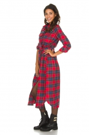 Essentiel Antwerp |  Checkered long dress Repoux | red  | Picture 5