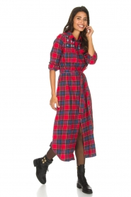 Essentiel Antwerp |  Checkered long dress Repoux | red  | Picture 2