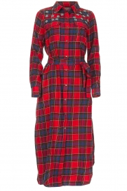 Essentiel Antwerp |  Checkered long dress Repoux | red  | Picture 1