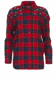 Essentiel Antwerp |  Checkered blouse Romance | red  | Picture 1